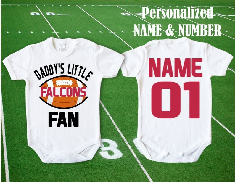 brand new e37ec 35487 Falcons Baby body Daddy's little Falcons Fan customized personalized NAME  NUMBER Bodysuit Funny Atlanta Baby Child boy Clothing Kid's NFL