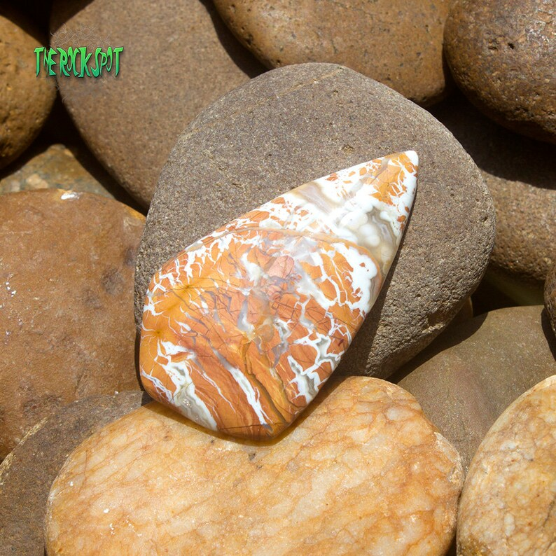Autumn Leaf Jasper Cabochon Handmade Gemstone Pendant for Jewelry Hand Cut and Polished Natural Jasper Cabochon for Wire Wrapping