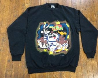 0c8c37523ab40d 90s Space Jam Crewneck 1990s Vintage Space Jam Looney Tunes Michael Jordan  Sweatshirt
