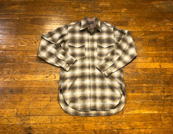 70s Gray Brown Shadow Plaid Pendleton Shirt 1970s