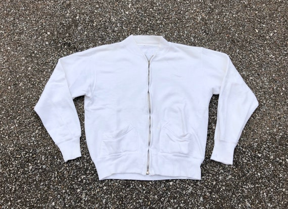 1950s White Zipper Sweatshirt 50s Vintage Double w