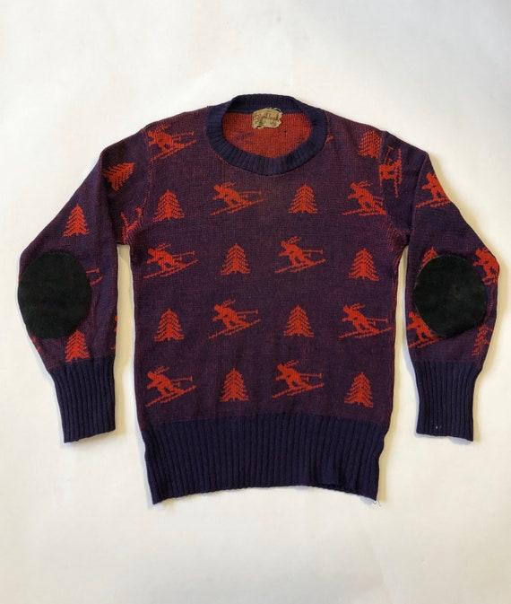 40s Ski Sweater 1940s Skier Sweater