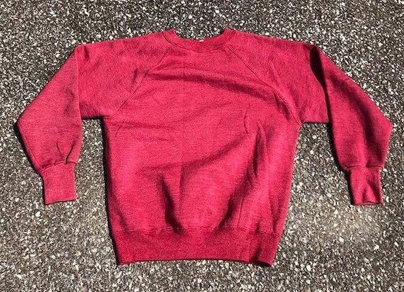 1950s red Sweatshirt 50s 60s Cotton sweatshirt