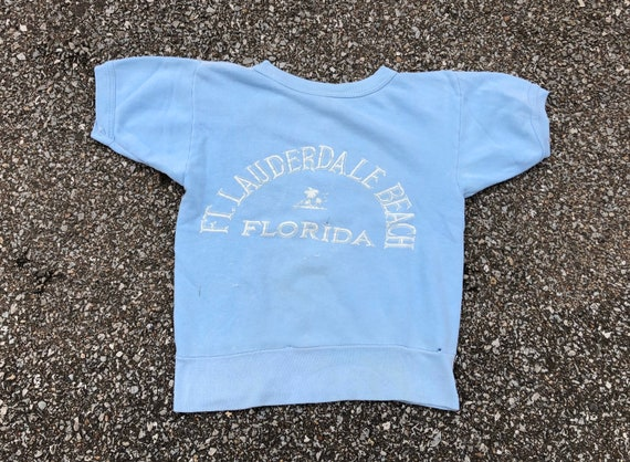 1940s 1950s  Light Blue Short Sleeve Ft Lauderdale
