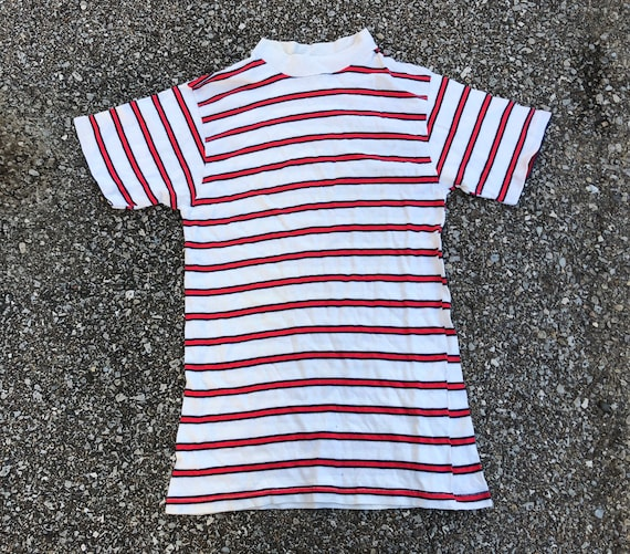 50s Striped T-shirt 1950s Striped Tee White with R