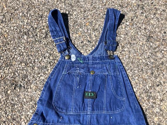 1970s Cornflower Blue Overalls~Size 6 Months