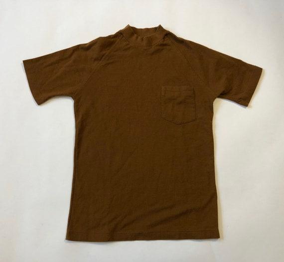 50s 60s Pocket T-shirt 1950s 1960s Brown Pocket Te
