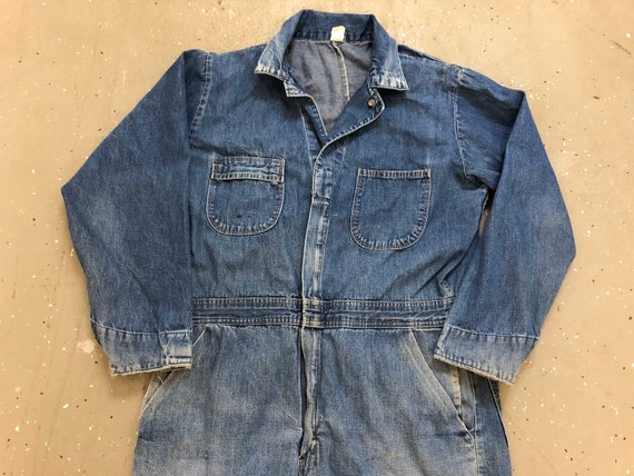 60s Selvedge Denim Coveralls 1960s Overall Denim W