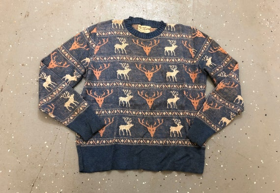 40s Ski Sweater 1940s Moose Sweater