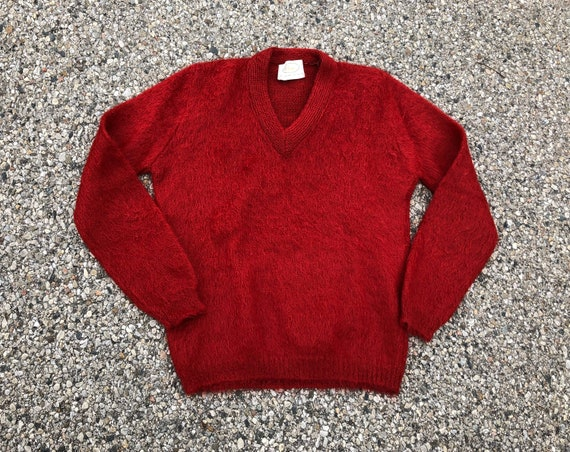 1960s Mohair Sweater 50s 60s Vintage Beet Red Moha
