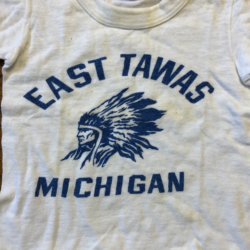 40s 50s East Tawas Michigan Indian Chief Souvenir Tee 1940s 1950s Youth size Souvenir Tee