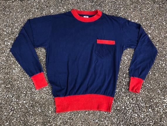 1950s Long Sleeve Two Tone T-shirt 50s Pocket T-sh