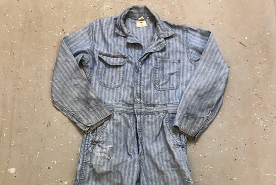 Gray Herringbone Coveralls 1960s Big Ben Overall D