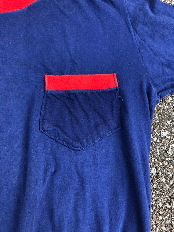 1950s Long Sleeve Two Tone T-shirt 50s Pocket T-s… - image 3