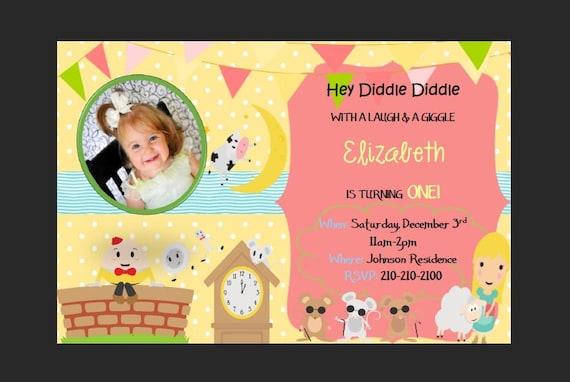 Nursery Rhyme Birthday Party Invitation Girl