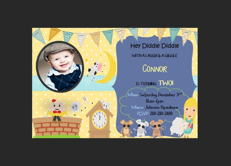 Nursery Rhyme Birthday Invitation Boy Etsy