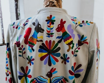 White Vintage Leather Coat with Hand-Painted Otomi Pattern // LARGE