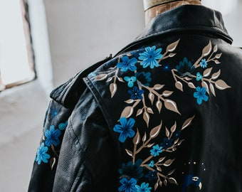 Vintage Leather Motorcycle Jacket with Hand-Painted Blue Botanical & Peacock Scene // LARGE