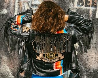 Rare Vintage Harley Davidson Jacket with Original Patches and Hand Painted Retro Rainbow / Fringe Motorcycle Biker Jacket / Size: Medium