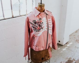 Pink Vintage Leather Motorcycle Jacket with Hand-Painted Skeleton Cavity & Flower Bouquet Heart (MED)