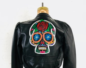 Hand-Painted Sugar Skull on Leather Bomber // (XS)