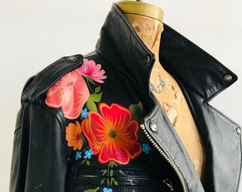 Vintage Leather Biker with Hand-Painted Bright Florals // (LARGE)