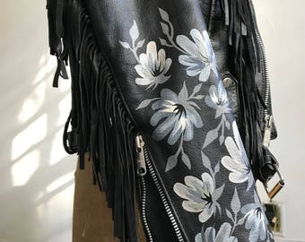 Vintage Leather Fringe Jacket with Hand-Painted Grey Flower Cuffs // SMALL