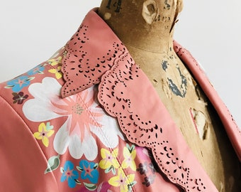 Pink Vintage Leather Blazer with Hand-Painted Flowers // (X-SMALL)
