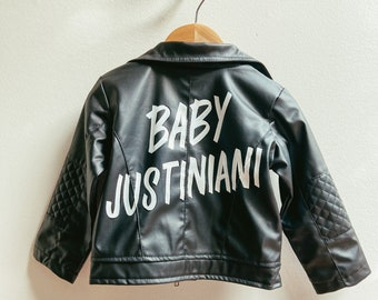 Hand Lettered Baby Announcement Jacket / Custom Painted Leather Jacket for Kids / Pregnancy Reveal / MADE TO ORDER