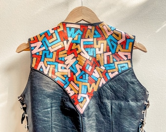 Painted Vintage Leather Vest / One-of-a-Kind 90s Motorcycle Vest with Custom Keith Haring Style Doodles / Medium