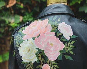 Painted Vintage Leather Jacket with Peonies / One of a Kind Black Motorcycle Biker Jacket with Custom Flowers / Medium