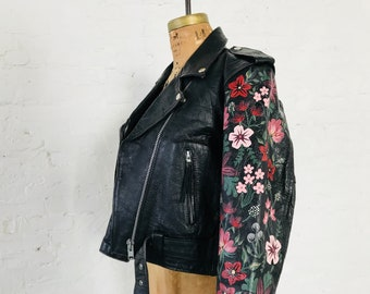 Moody Hand-Painted Garden Vintage Leather Jacket // (MEDIUM)