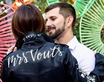 Custom Hand-Lettered Jacket for Brides// MADE TO ORDER 'Mrs' / 'Wifey' / 'Forever' / 'Just Married' /  'Til Death' Jacket