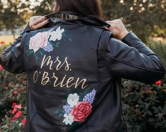 Hand-Painted Bride Jacket / Custom Leather Wedding Jacket / Made to Order Mrs, Wifey, Til Death, Just Married Coat / Bride Gift (Level 3)