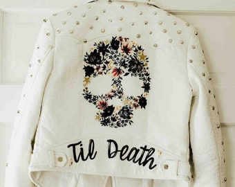 Hand-Painted Flower Skull Jacket / Custom Leather Wedding Jacket / Made to Order Til Death, Rock n Roll Wedding, Alternative Bride, Mrs Coat