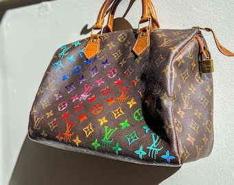 Hand-Painted Rainbow Ombré on Your LV bag / Custom & Made to Order / Customer Provides Bag for Painting