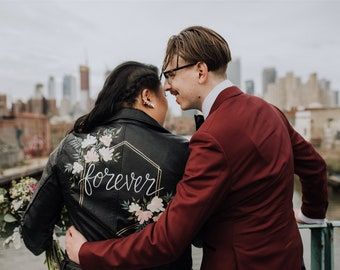 Hand-Painted Bride Jacket / Custom Leather Wedding Jacket / Made to Order Mrs, Wifey, Til Death, Just Married Coat / Bridesmaids (Level 1)