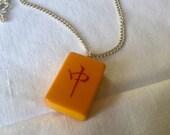 RED DRAGON MAHJONG, Vintage Bakelite Tile Pendant Necklace on Silvertone Chain Mahjong Necklace