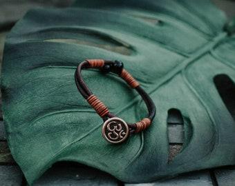 Tourmaline Bracelet - Signature bracelet - Leather bracelet - Om bracelet - Handmade Gift - Handwoven
