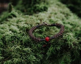 Carnelian Bracelet - Signature bracelet - Leather bracelet - woven bracelet - Handmade Gift - Handwoven