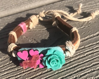 Dachshund Leather Teal Bracelet Floral Collage