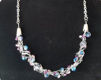 Crystal and Bead Wire Crochet Necklace