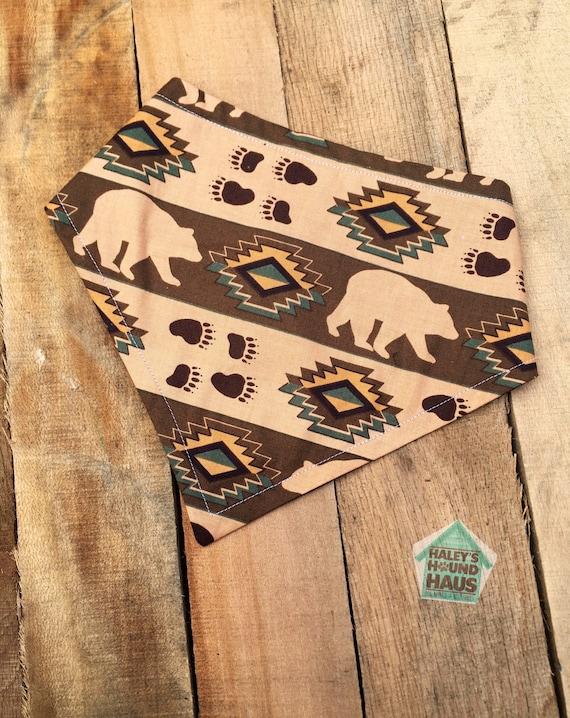 Ours amérindien beauté chien Bandana | Pression sur chien Bandana | Clip sur le bandana chien