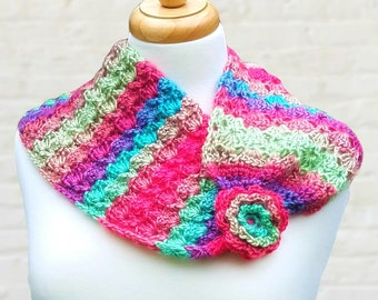 Multicolor pink green and blue crochet pastel flower scarf