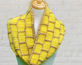 Crochet infinity scarf, Yellow Brick Road, The Wizard of Oz, Book inspired scarf, Bookish gift