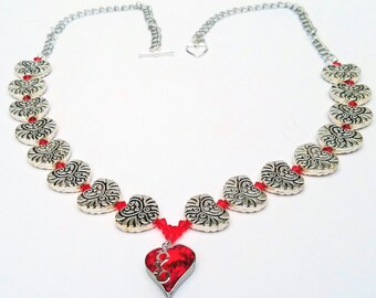 Red and silver beaded heart necklace, Handmade jewelry, Anniversary gift, Valentines day romantic gifts for her