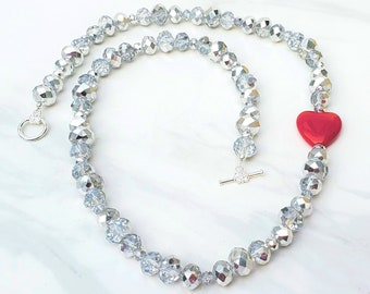 Tin Man Wizard of Oz inspired beaded heart necklace, Handmade book themed jewelry