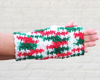 Red and green Christmas fingerless gloves, Festive arm warmers, Holiday mitts