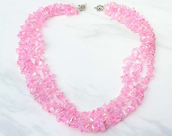 Glinda the Good Witch pink three strand glass beaded necklace, The Wizard of Oz, Handmade book inspired costume jewelry