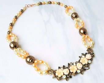 Handmade white, blush pink, and brown pearl and flower necklace, Floral bridal jewelry